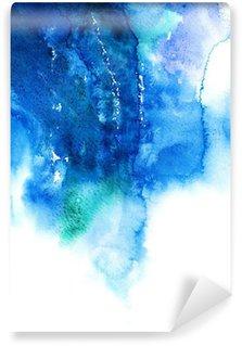 Papier Peint Vinyle Bleu aquarelle abstraite de fond peint à la main