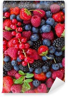 Papier Peint Vinyle Bluberry, framboise, mûre et rouge currrunt