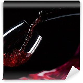 Papier Peint Vinyle Bouteille et un verre de vin rouge