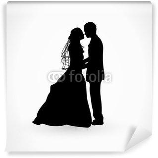 Papier Peint Vinyle Brautpaar Silhouette