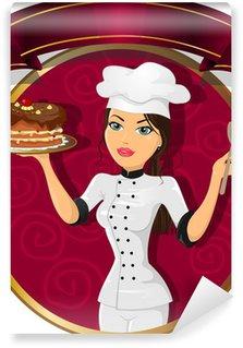 Papier Peint Vinyle Brunette femme chef pâtissier