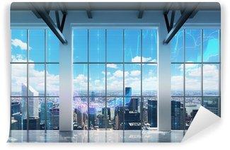 Papier Peint Vinyle Bureau contemporain avec vue sur New York. tableaux financiers sont tirés sur les fenêtres.