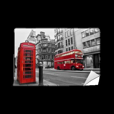 papier peint cabine t l phonique et bus rouges londres. Black Bedroom Furniture Sets. Home Design Ideas