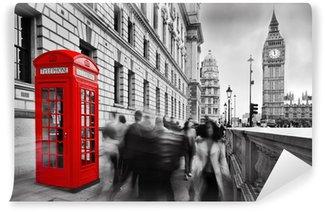 Papier Peint Vinyle Cabine téléphonique rouge et Big Ben à Londres, Angleterre, Royaume-Uni