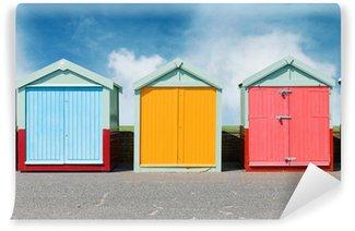 Papier Peint Vinyle Cabines de plage colorées à Brighton sur la plage