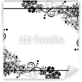 Papier Peint Vinyle Cadre noir floral