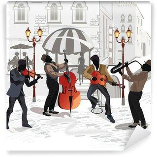Papier Peint Vinyle Café de la rue avec des musiciens