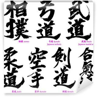 Papier Peint Vinyle Calligraphies japonaises de arts martiaux japonais