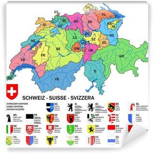 Papier Peint Vinyle Cantons de la Suisse: Carte et armoiries