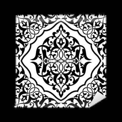 papier peint carrelage arabesque noir et blanc pixers nous vivons pour changer. Black Bedroom Furniture Sets. Home Design Ideas