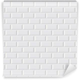 Papier Peint Vinyle CARRELAGE métro blanc