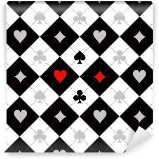 Papier Peint Vinyle Carte costume échiquier noir fond blanc illustration