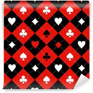Papier Peint Vinyle Carte costume échiquier rouge noir blanc fond illustration