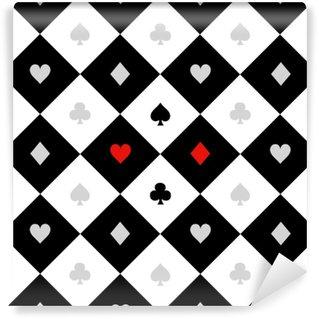 Papier Peint Vinyle Carte costumes noir blanc échiquier diamant fond vecteur illustration