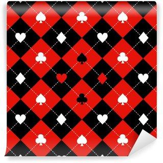 Papier Peint Vinyle Carte costumes rouge noir blanc échiquier diamant fond vector illustration