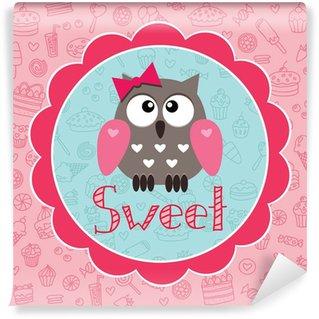 Papier Peint Vinyle Carte de bébé avec owlet mignon sur le fond de bonbons