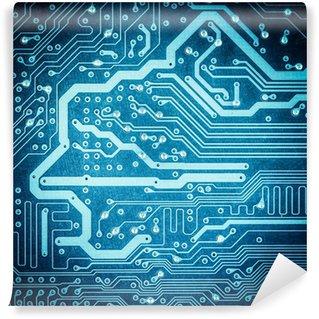Papier Peint Vinyle Carte de circuit bleu texture gros plan