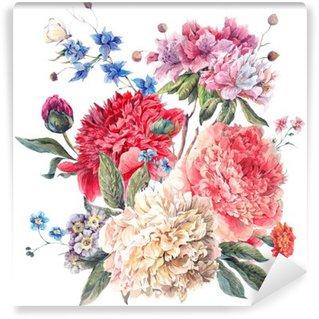 Papier Peint Vinyle Carte de voeux florale vintage avec Blooming Pivoines