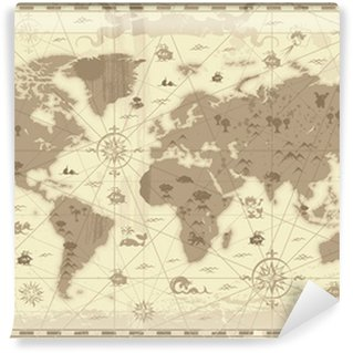 Papier Peint Vinyle Carte du monde antique