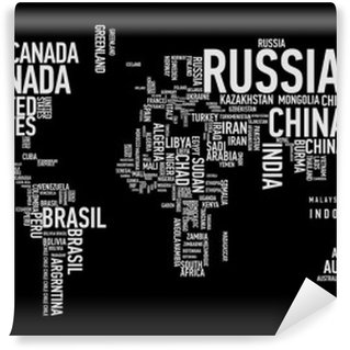Papier Peint Vinyle Carte du monde: les pays de wordcloud