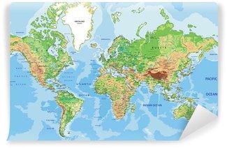 Papier Peint Vinyle Carte physique très détaillée du monde avec l'étiquetage.
