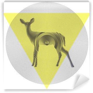 Papier Peint Vinyle Cerf de vecteur dans tiangle et cercle