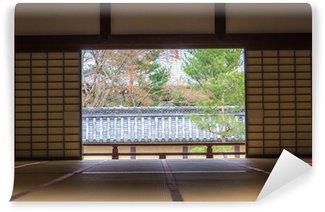 Papier Peint Vinyle Chambre de style japonais avec jardin à Tenryu-ji à Kyoto