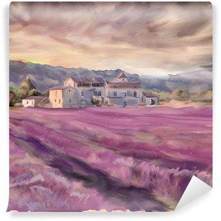 Papier Peint Vinyle Champ de lavande en Provence. Peinture à l'aquarelle