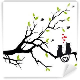 Papier Peint Vinyle Chats dans l'amour sur une branche d'arbre, vecteur