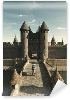 Papier Peint Vinyle Chevalier médiéval d'équitation de la Porte de château