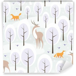 Papier Peint Vinyle Christmas seamless pattern avec l'image de la forêt d'hiver et les animaux sauvages