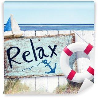Papier Peint Vinyle Clôture en bois et se détendre sur la plage de conseil Connectez-vous