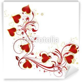 Papier Peint Vinyle Coeur floral rouge