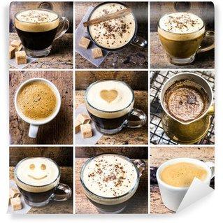 Papier Peint Vinyle Collage de café avec café espresso, cappuccino, latte et de moka