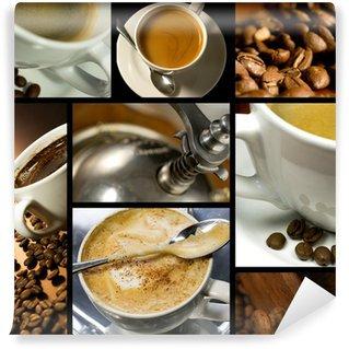 Papier Peint Vinyle Collage sur le thème du café, l'heure du café, se détendre