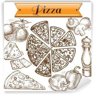 Papier Peint Vinyle Collection de pizza dessiné à la main