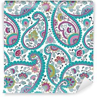 Papier Peint Vinyle Coloré motif paisley floral, textile, Rajasthan, Inde