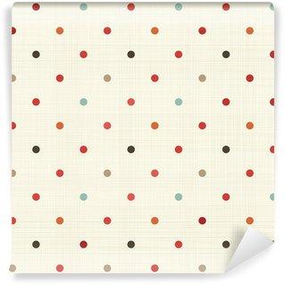 Papier Peint Vinyle Coloré polka dot seamless sur la texture du tissu