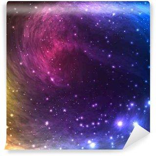 Papier Peint Vinyle Colorful Background Galaxy espace avec la lumière, de brillantes étoiles et nébuleuse. Vector Illustration d'œuvres d'art, des dépliants du parti, des affiches, des bannières.