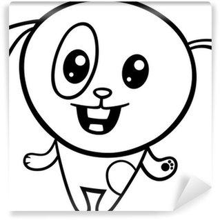 Papier Peint Vinyle Coloriage chiot kawaii de bande dessinée