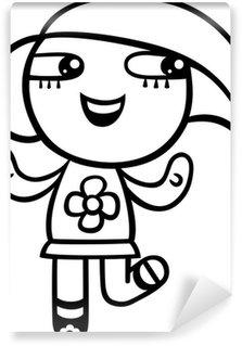Papier Peint Vinyle Coloriage fille kawaii de bande dessinée
