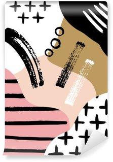 Papier Peint Vinyle Composition abstraite scandinave en noir, blanc et rose pastel.