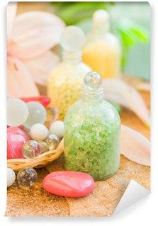 Papier Peint Vinyle Composition spa bain de sels saveurs naturelles