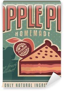 Papier Peint Vinyle Conception d'affiche de cru pour tarte aux pommes maison