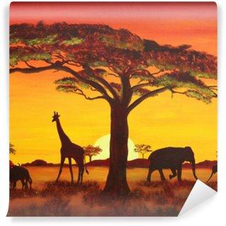 Papier Peint Vinyle Coucher de soleil en Afrique