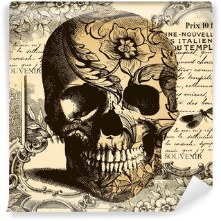 Papier Peint Vinyle Crâne fond Vintage