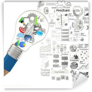 Papier Peint Vinyle Créatif design entreprise comme crayon ampoule 3d comme stra d'affaires