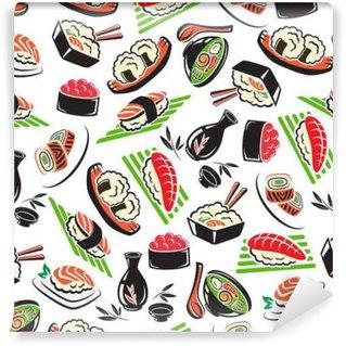 Papier Peint Vinyle Cuisine de fruits de mer japonais, seamless