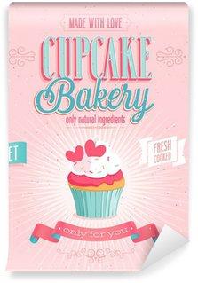 Papier Peint Vinyle Cupcake affiche vintage. Vector illustration.