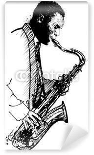 Papier Peint Vinyle Dessin à la main saxophoniste sur un fond blanc
